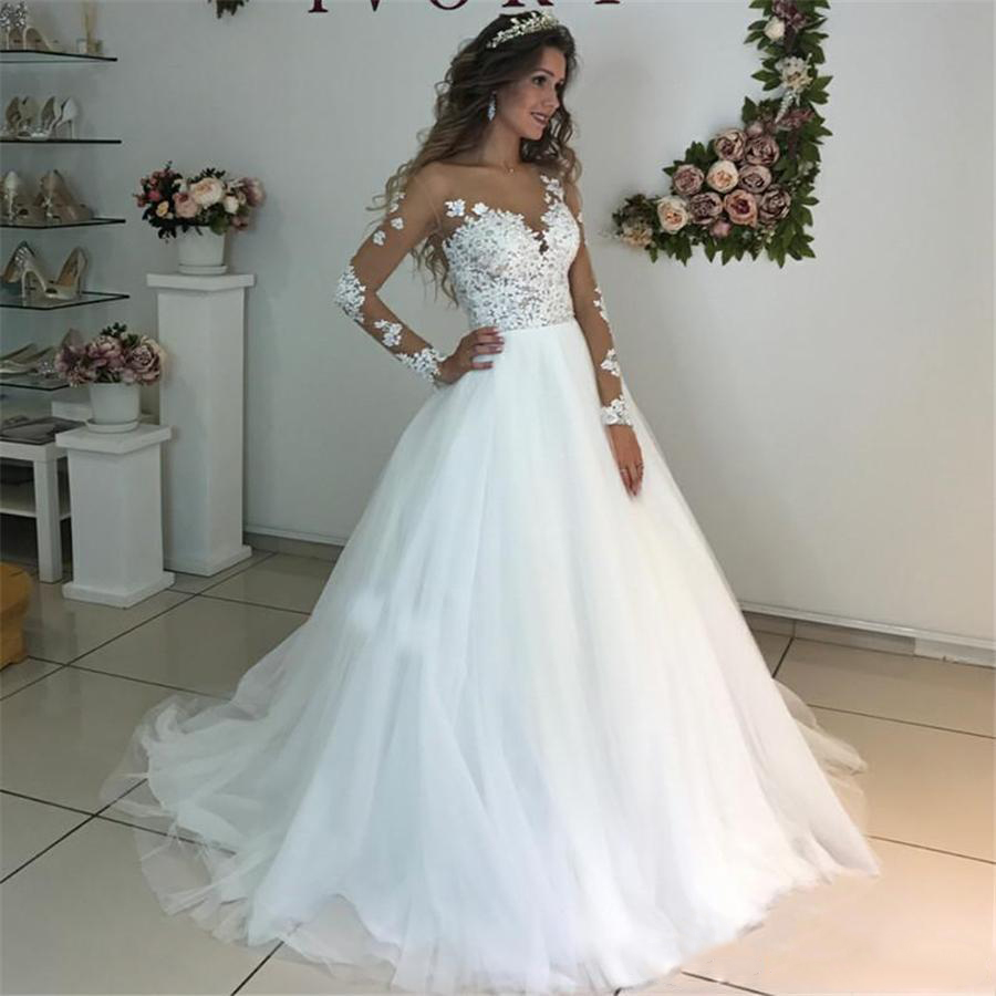 Illusion Scoop Long Sleeve Wedding Dresses Lace Appliques Sheer Back White/ Ivory Tulle Wedding Dress Lace Wedding Gowns