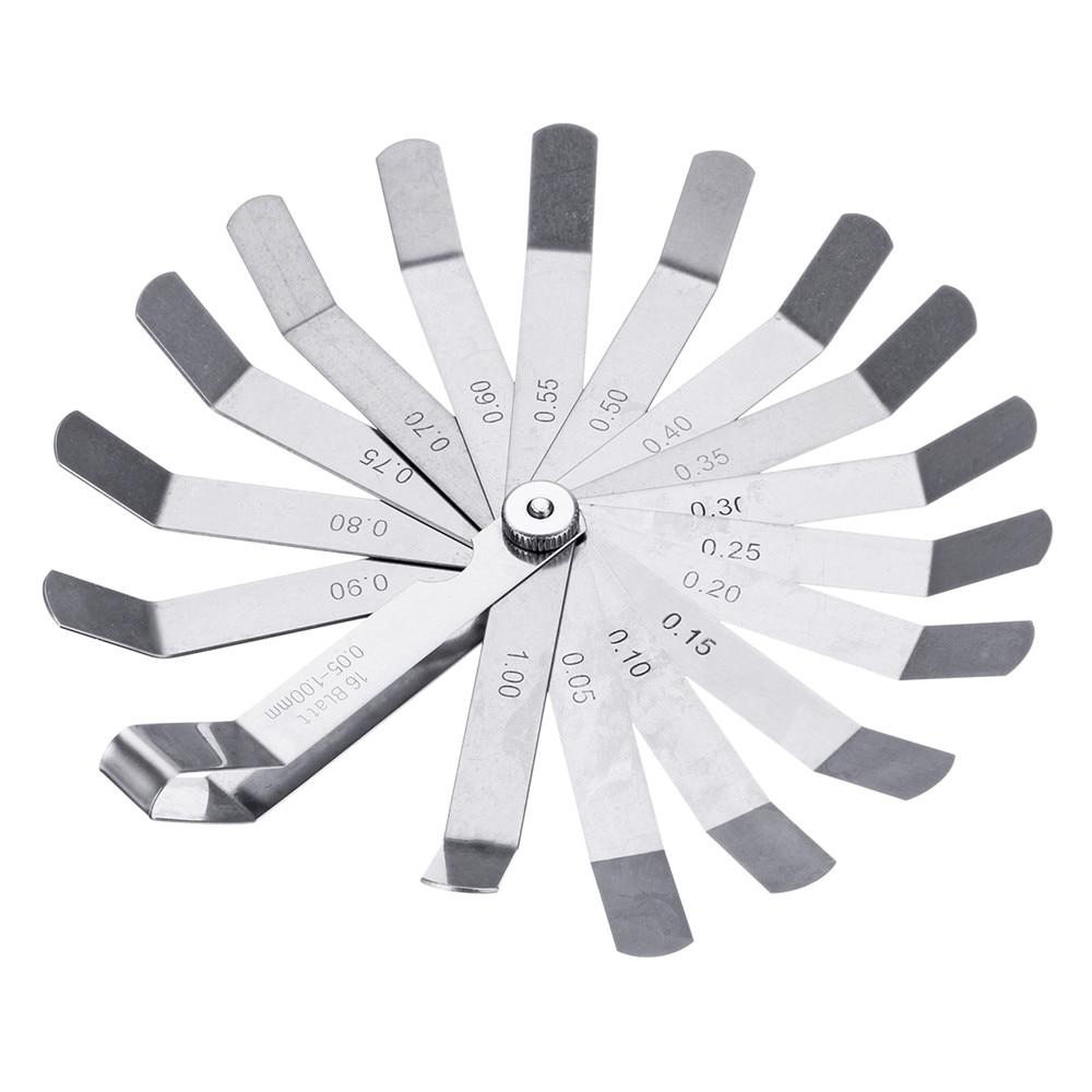 Stainless Steel 16 Blade Valve Offset Feeler Gauge Metric 0.05-1mm Measuring Tool Durable