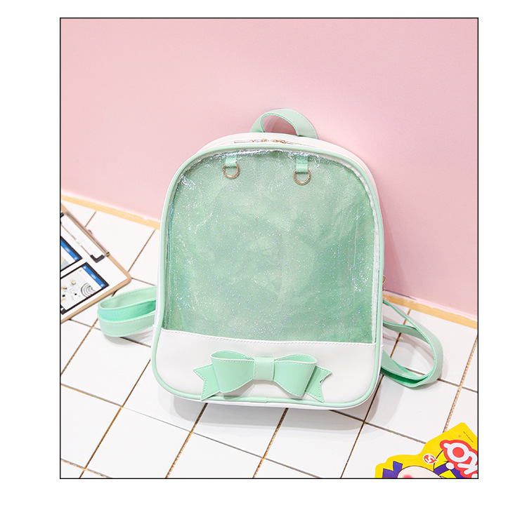 Clear Transparent Women Backpack Cute Bow Bags For School Mini Black School Bags For Teenage Girls arrival Bookbag image