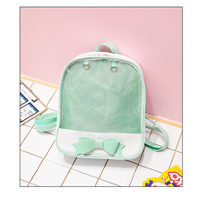 Clear Transparent Women Backpack Cute Bow Bags For School Mi