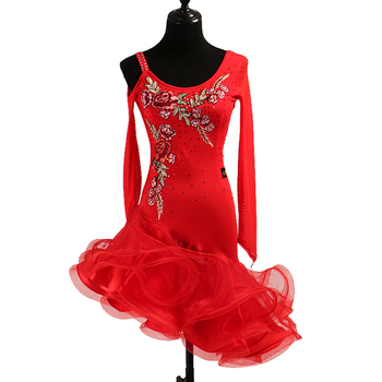 Sexy dress latin dance clothes for women latin dance Embroidery long sleeves dress girls latin dance dress Cha-cha dance dress