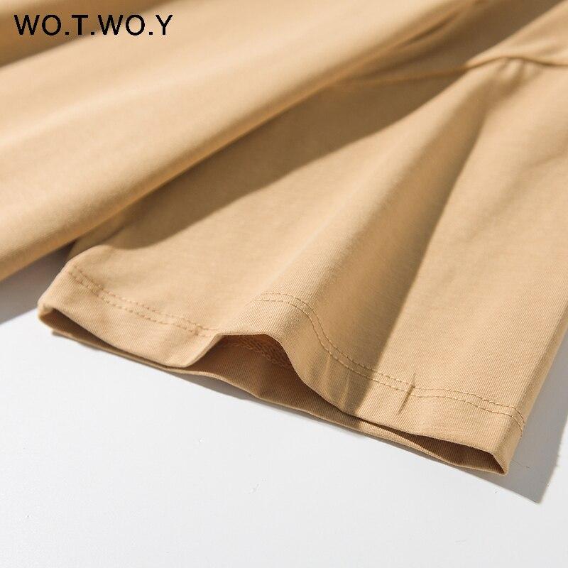 WOTWOY Solid Casual Basic T-shirt Women 2020 Summer Short Sleeve Knitted Cotton Tee Shirt Women Black White Korean Top Femme New 5