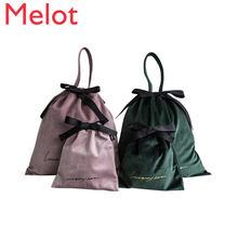 Креативная портативная однотонная бархатная сумка багги сумки