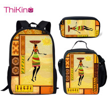 Thikin Casual African Tribal Dance School Bags 3pcs/set for Teen Girls Backpack Kids Bookbag Supplies Satchel