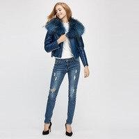 2019 Winter New Australian Fur Short Motorcycle Overcoat Raccoon Dog Fur colla Coat Autumn and Winter Coat