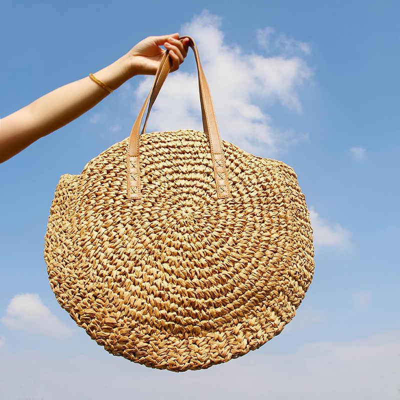 Bolso de playa redondo de paja Vintage hecho a mano bandolera tejido bolso rafia círculo ratán bolsas bohemias vacaciones de verano Casual bolsas