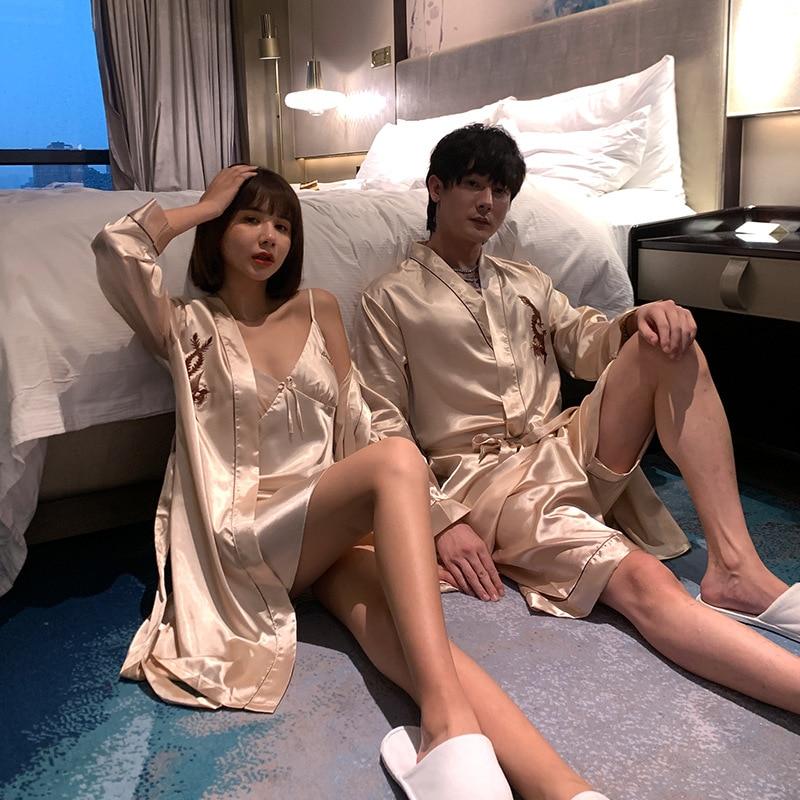 Pajama Suit Satin Silk Robe + Shorts & Robe+nightdress Pajamas Sets Couple Sleepwear Family Pijama Lover Night Suit