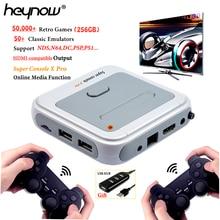 Heynow hd 4k tv vídeo super game console x pro para ps1/n64/dc 50 + emuladores 50000 + jogos 256gb s905x cpu mini x-pro jogador de jogo