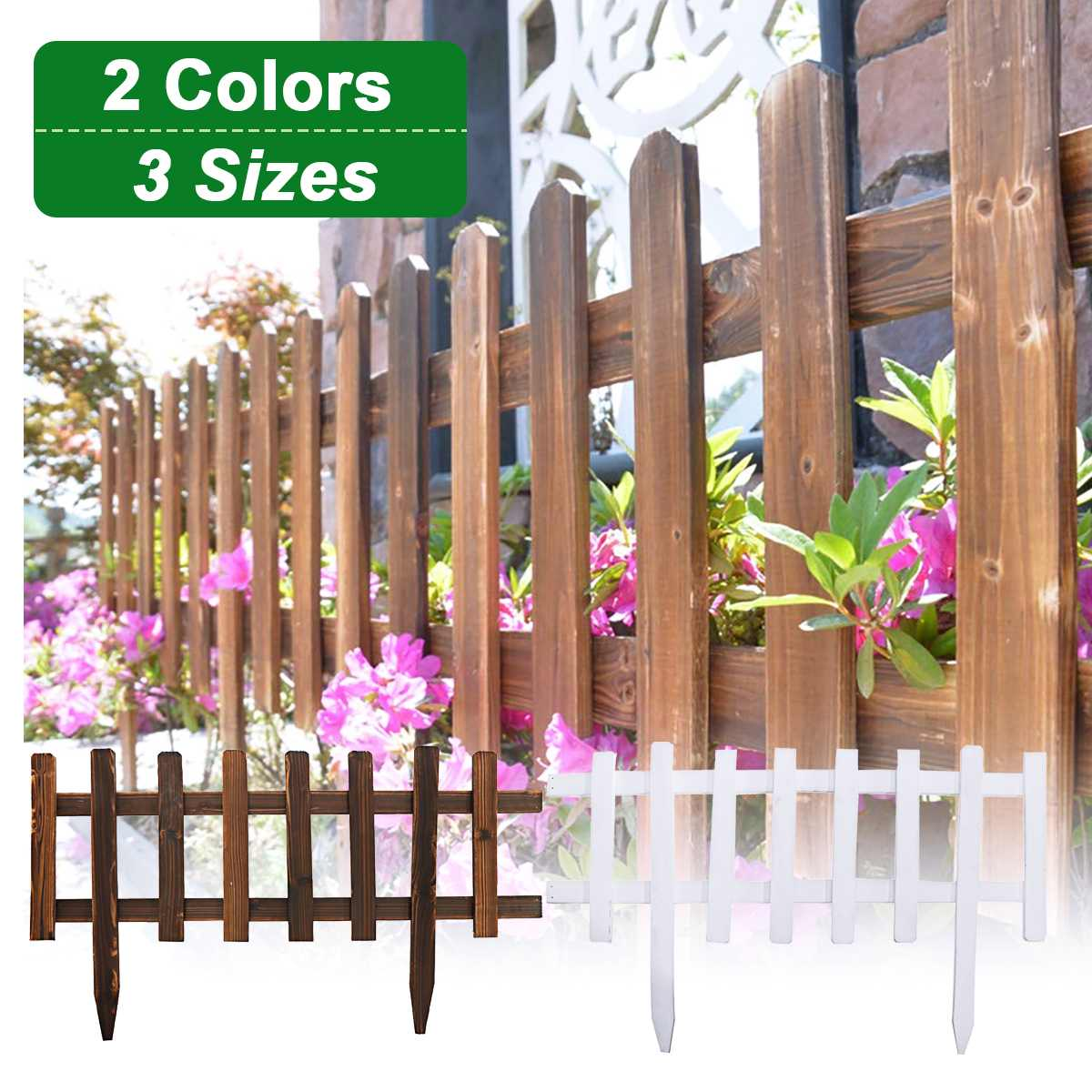 China Fir Garden Fence Easy Assemble European Style Insert Ground Type Wooden Fences for Countryyard Decoration