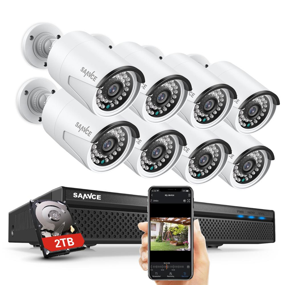 SANNCE 8CH POE 5M NVR Kit CCTV Security System 2MP IR Outdoor Waterproof IP Camera with Mic Audio Record Video Surveillance Set image