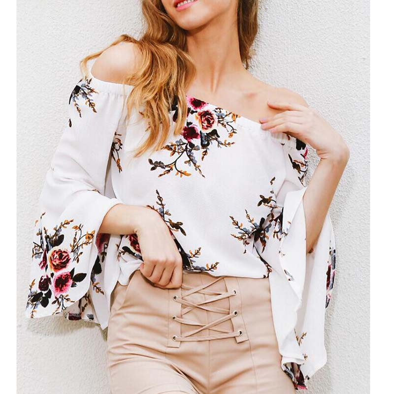 Blusas Mujer De Moda 2019 NEW Fashion Bell Sleeve Print Bare Shoulders Top Elegantes Chiffon Blouse Blusa Hombro Descubierto