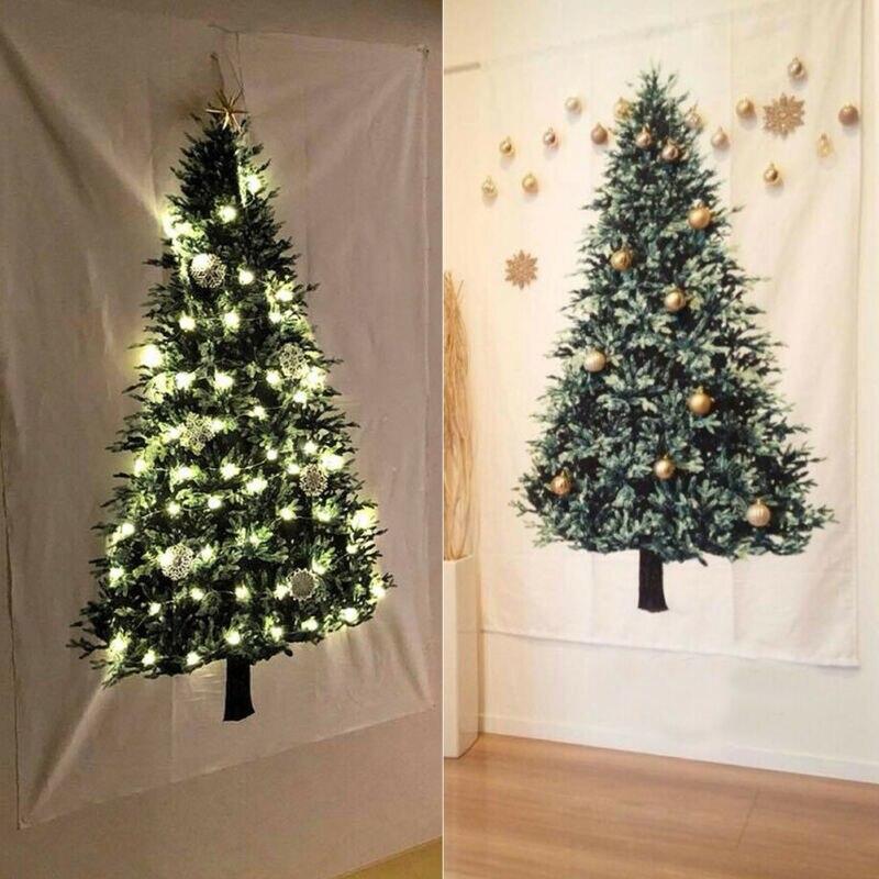 Рождественский гобелен с изображением деревьев, орнамент, винтажный праздничный арт, настенный, Рождественская елка, сосновый брезент, украшение для дома и спальни