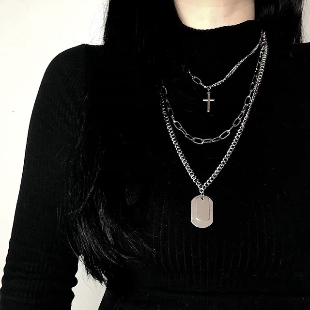2020 New Personality Cross Square Metal Multilayer Hip hop Long Chain Cool Simple Necklace For Women Men Jewelry Gifts 5