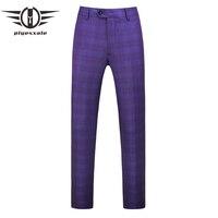Бренд Plyesxale, синие, хаки, фиолетовые Мужские брюки, Официальный деловой костюм, брюки, большие размеры, 2020, весна-осень, офисные брюки P35
