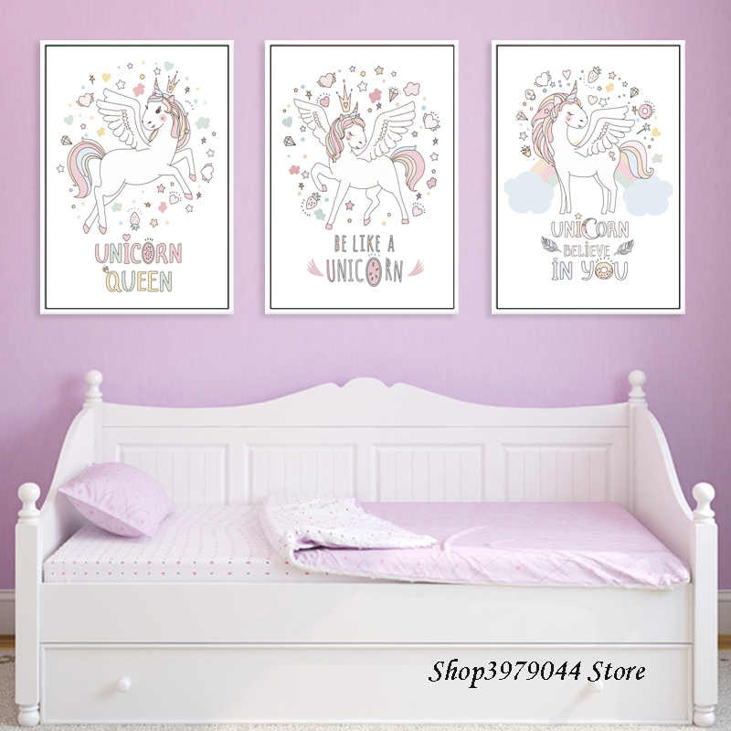 Pink Baby Girl Unicorn Room Decor Posters And Prints Cartoon Unicorn Pictures Art Print Nordic Poster Canvas Painting Unframed