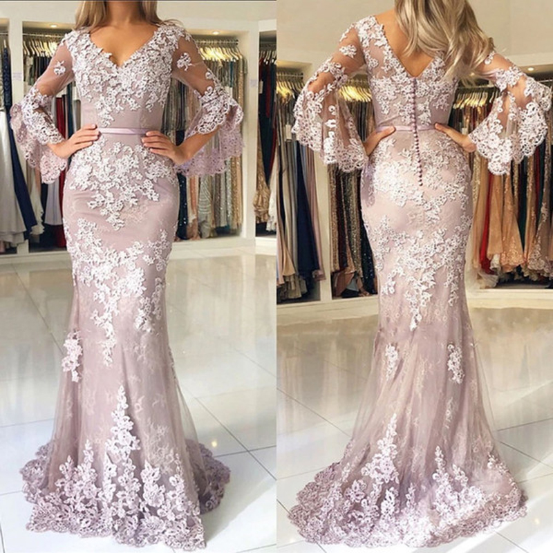 Pink 2019 Mother Of The Bride Dresses For Weddings Lace Mermaid Prom Dresses V Neck Long Sleeves Elegant Evening Wear Vestidos