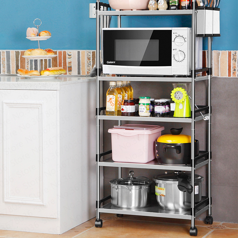 Multi-layer Stainless Steel Kitchen Rack Floor Type Microwave Oven Shelf Storage Rack Pot Oven Home Space Organizer
