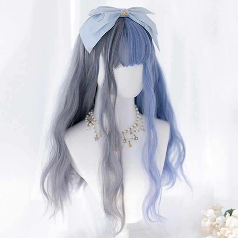 Cosplaysalon 60CM Lolita Grey Mixed Blue Ombre Long Curly Bangs Fuzzy Halloween Synthetic Cute Cosplay Wig