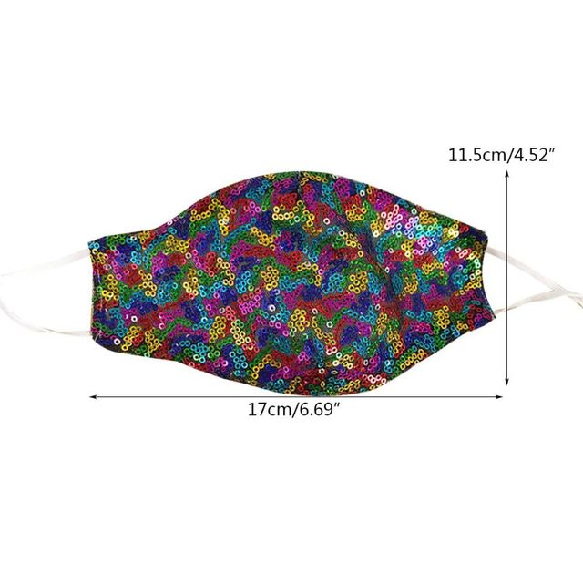 Korean Women Outdoor Dustproof Mouth Mask Neon Colorful Shimmer Sequins Nightclub Festival Party Washable Earloops Face Cover 5