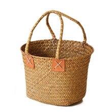 1 Uds. Cesta de mano tejida de algas Vintage maceta de flores cesta de almacenamiento de playa JS22