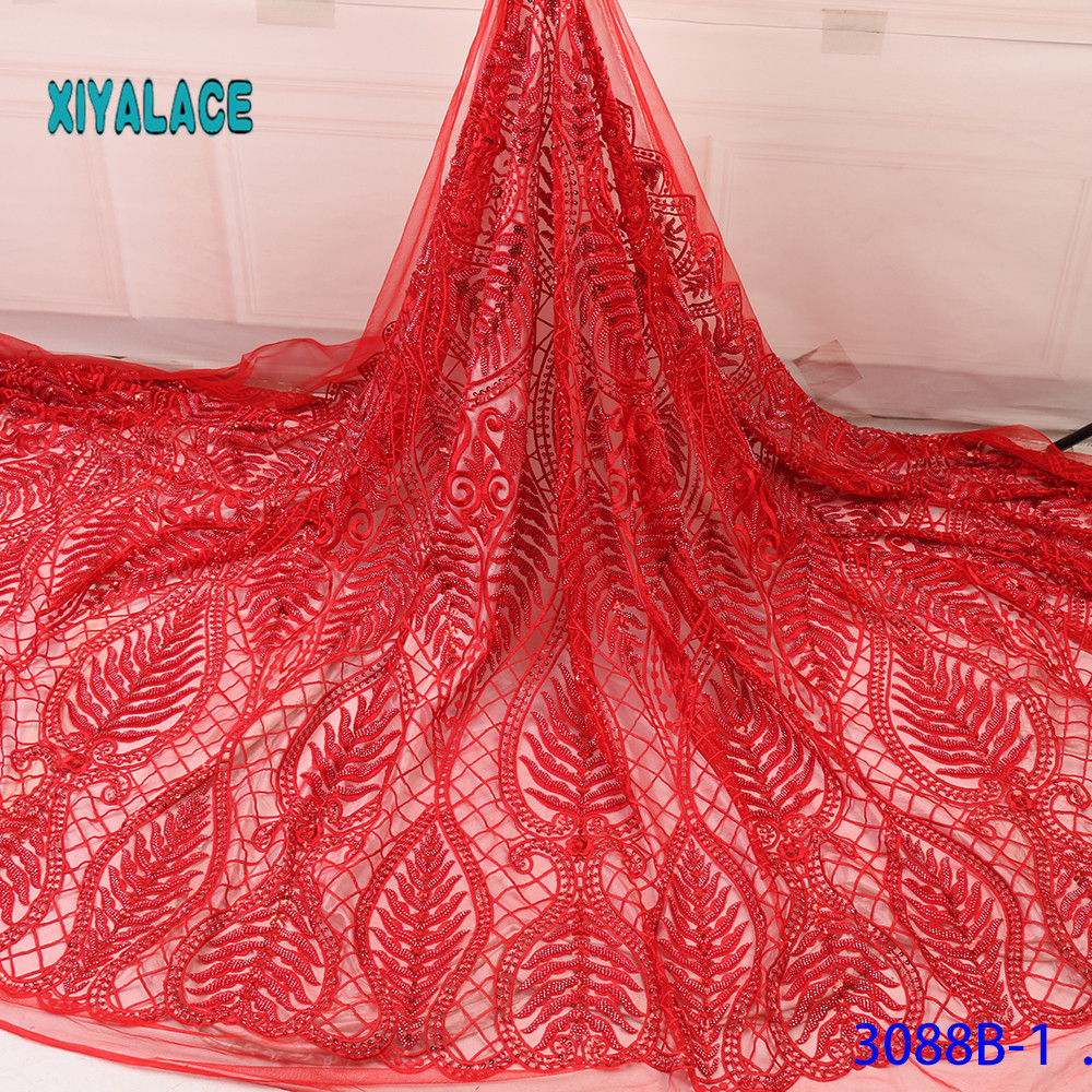 Red Nigerian African Lace Fabrics 5Yards Guipure Lace Fabric High Quality African Cord Lace Fabric For Wedding Dress French Lace