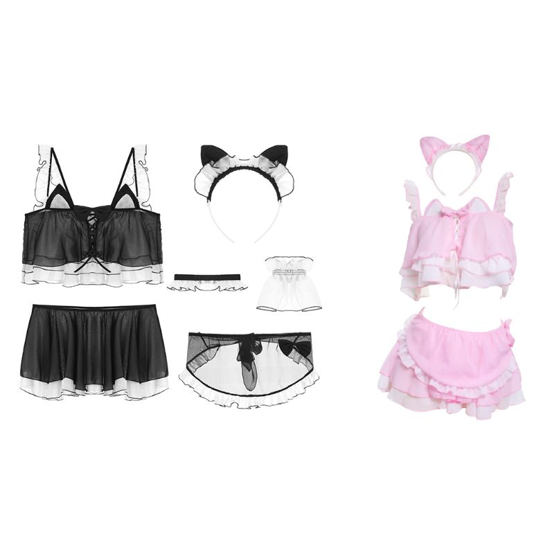 Womens <font><b>Cute</b></font> Cat Ears <font><b>Cosplay</b></font> Lingerie Set Lolita Anime Chiffon Ruffles Crop Top Skirt Apron <font><b>Sexy</b></font> Maid Costume Uniform Nightwear image