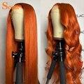 Прозрачные передние парики из искусственных волос, прямые парики из оранжевого имбиря на сетке спереди, плотность 180%, цветные парики из чел...