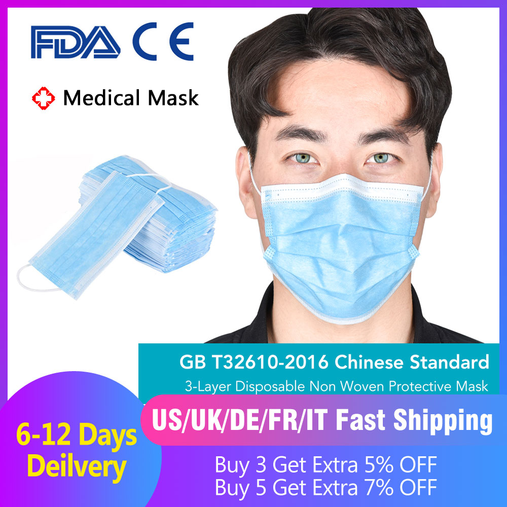 50pcs Surgical Masks Bacteria Proof Medical Masks 3 Layer Filter Disposable Masks Anti-dust Mouth Nose Proof Earhook Face Masks
