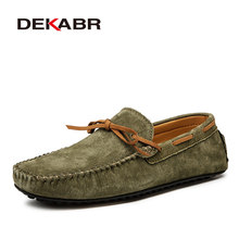 DEKABR Casual Men Genuine Leather Shoes Summer Breathable Green Men's Loafers Leather Shoes Sapato Masculino Zapatos Hombre(China)