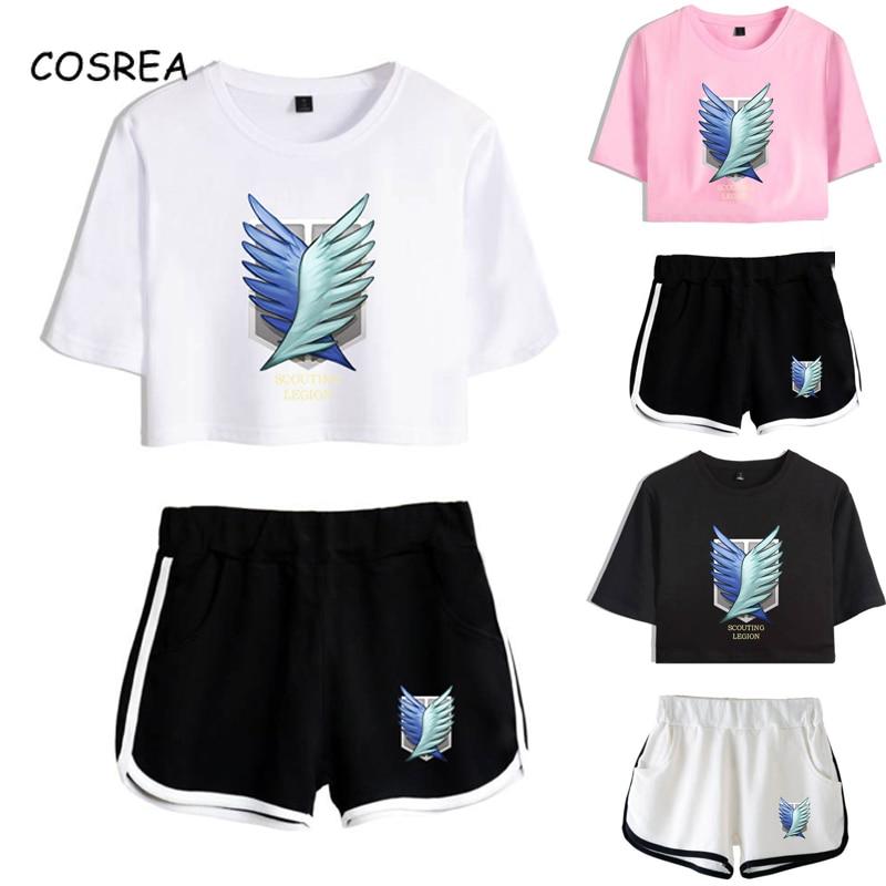 Attack on Titan Cosplay Costume Survey Corps Logo Short Sleeve Shirt Sport Suits Girls Tees Shorts T shirt Running Sets Women