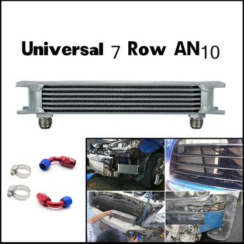 Universal 7 Row 10AN AN10 Engine Transmission Oil Cooler Trust Style Silver
