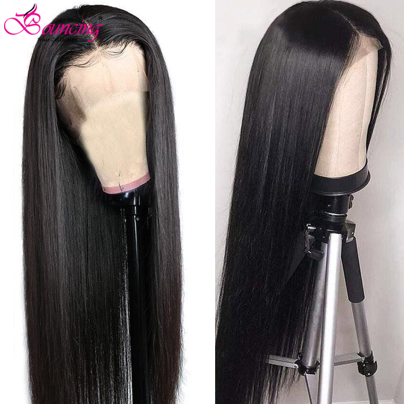 Bouncing Straight  Brazilian Remy Lace Front Human Hair Wig 13x4 Lace Wig Natural Color 180% 200% Density Human Hair Wigs