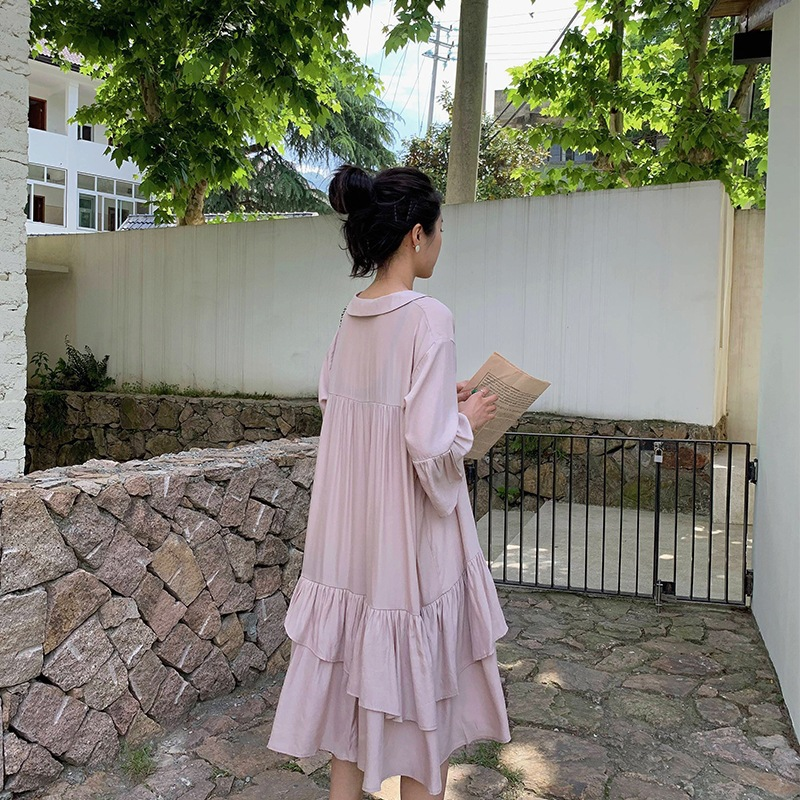 Shirt Cake Dress Women's Summer Short-sleeved Mid-length Korean-style Loose-Fit A- Line White Flounced Dress