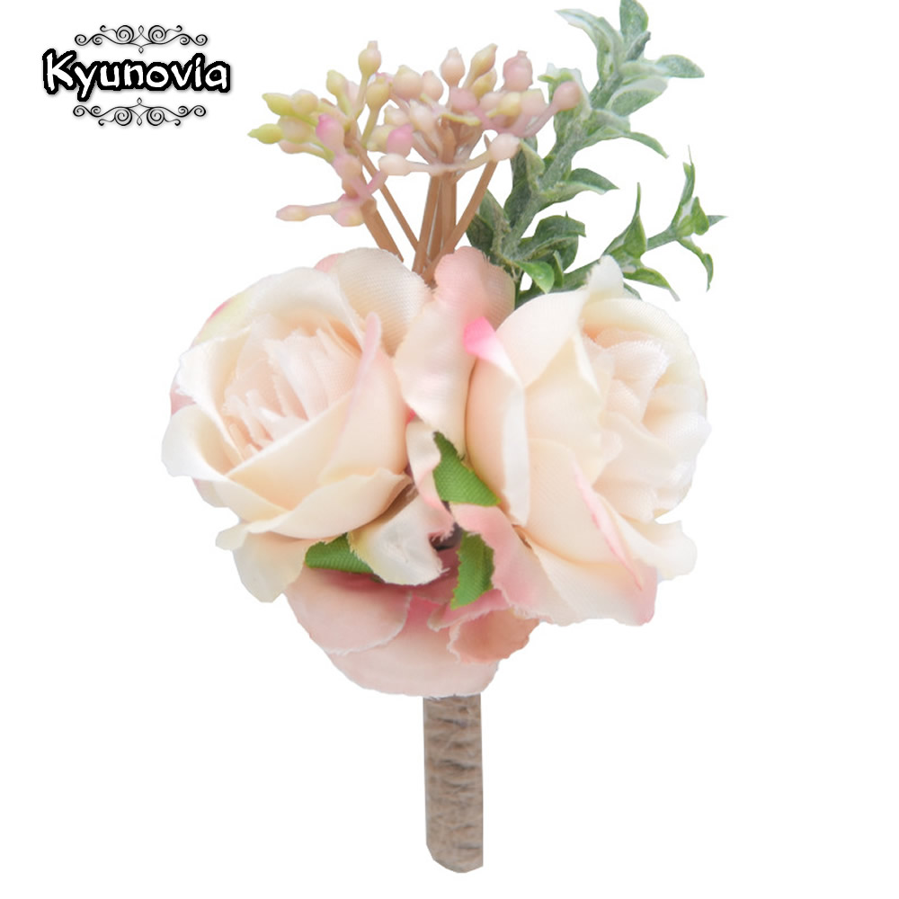 Kyunovia Silk Flower Wedding Boutonniere Groom Prom Bride Wrist Corsage Boutonniere Hand Flowers Party Suit Decoration D155