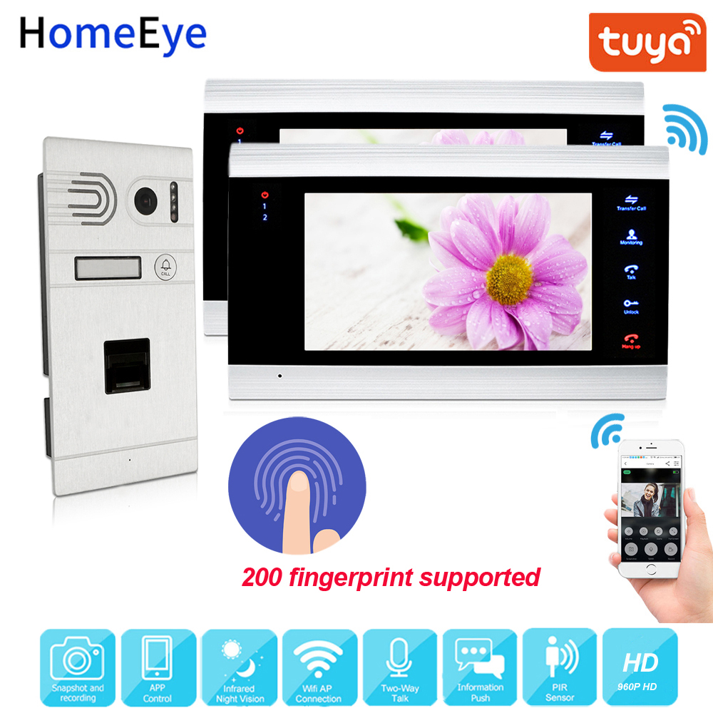 960P HD TuyaSmart App Supported Fingerprint WiFi IP Video Door Phone Video Intercom System Home Access Control Motion Detection