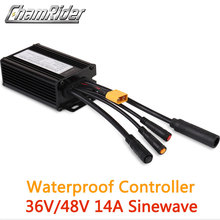 防水コネクタ36v 250ワット48v 350ワット14A 6 mosfet電動自転車ブラシコントローラ正弦波ktシリーズサポートled液晶