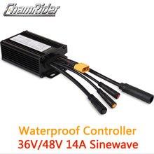 Conector impermeável 36v 250w 48v 350w 14a 6 mosfet controlador sem escova da bicicleta elétrica sinewave kt series suporte led lcd