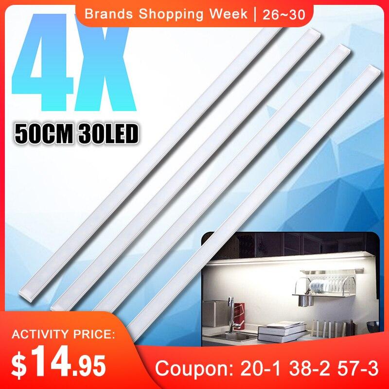 CLAITE 4Pcs 50CM 5730SMD 30 LED Bar Light 1000LM 10W LED Strip Light Kit for Under Kitchen Cupboard Cabinet Lamp car
