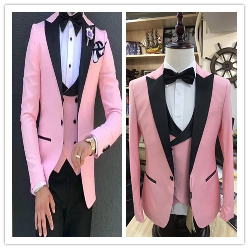 Pink Men Suits Male Business Dress Host Stage Costume Homme Mariage Groom Groomsmen Tuxedo Masculino	3piece Jacket Pants Vest