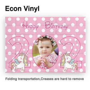 Image 2 - Allenjoy Child Custom Photo Backdrop Happy Birthday Pink Unicorn Party Banners Background Girl Baby Shower Photobooth Photozone