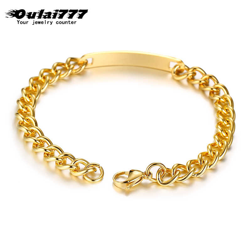 oulai 777 Customized Engraving Nameplate bracelets stainless steel womens bracelets men chain on hand for men's fashion women
