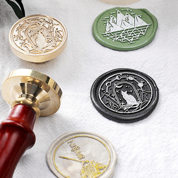 3cm Flower Sealling Wax Stamp Cat Mountain Seal Retro Wood Replace Copper Head Hobby Decor Craft Tools Sets Spoon - discount item  15% OFF Arts,Crafts & Sewing