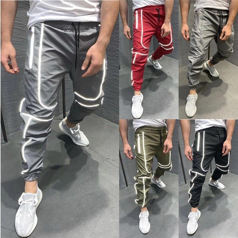 Autumn Soft Shell Jogger Pants Men's Sweatpants Waterproof Trousers Fleece Lined Bottoms Reflective Night Light Winter Men Pant