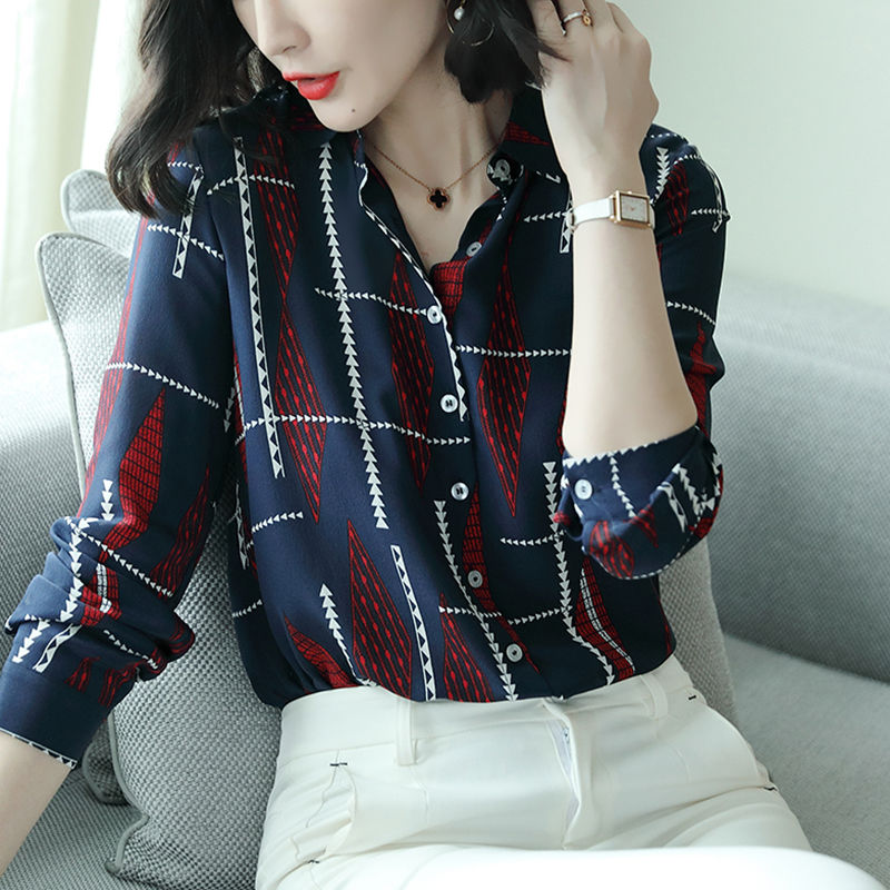 Women's Spring Autumn Casual Chiffon Blouses Office Elegant Fashion Shirts Turn-down Collar Temperament Casual Tops DF3208