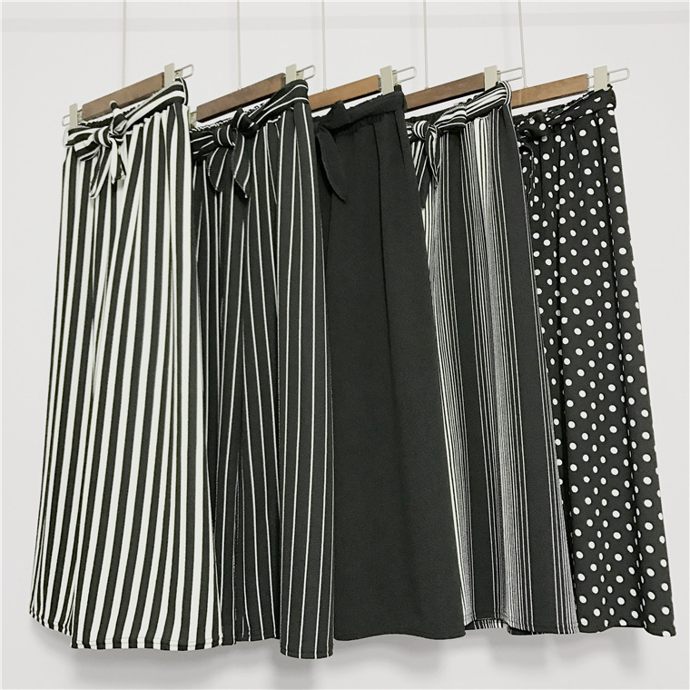2020 Women's Fashion Wide Leg Long Casual Summer Flare High Waist Elastic Waist Striped Loose Culotte Trousers Cropped Pants