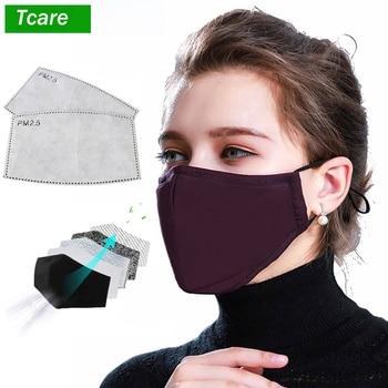 Tcare * mascarilla de boca negra de algodón con 2 filtros de carbón activado a prueba de viento, mufla de boca para hombres y mujeres, moda negra