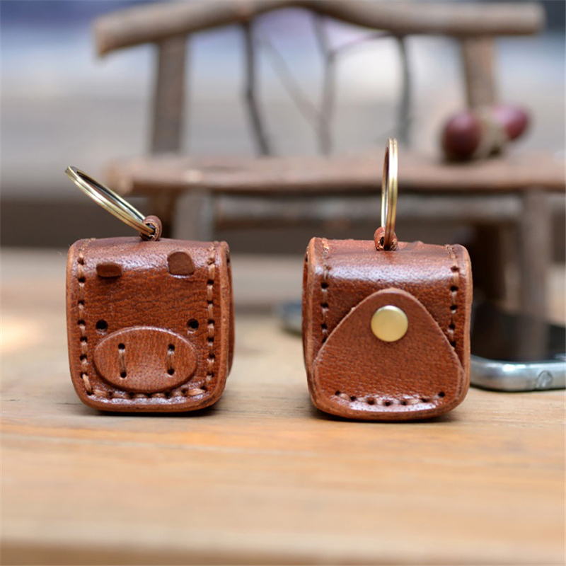 Women Mini Pendant Pig Coin Purse Bags Key Wallets Genuine Cow Leather Clutch Retro Handmade Small Hasp Handbags Ladies DIY Gift