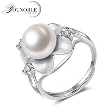 925 Silver Flower Rings for Women,Beautiful Wedding Real Natural Freshwater Black Pearl Ring Engagement Gift