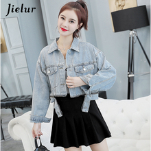 Jielur 2019 Autumn New Denim Jacket Women Korean Version Loose Button Zippers Pockets Short Coat Wild Casual Female Top