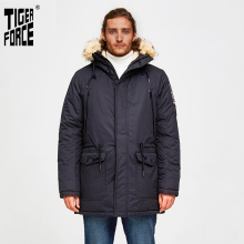 Warm Coat Jacket Parka TIGER Artificial-Fur-Collar Thicken Padded Hooded Men Winter Medium-Long